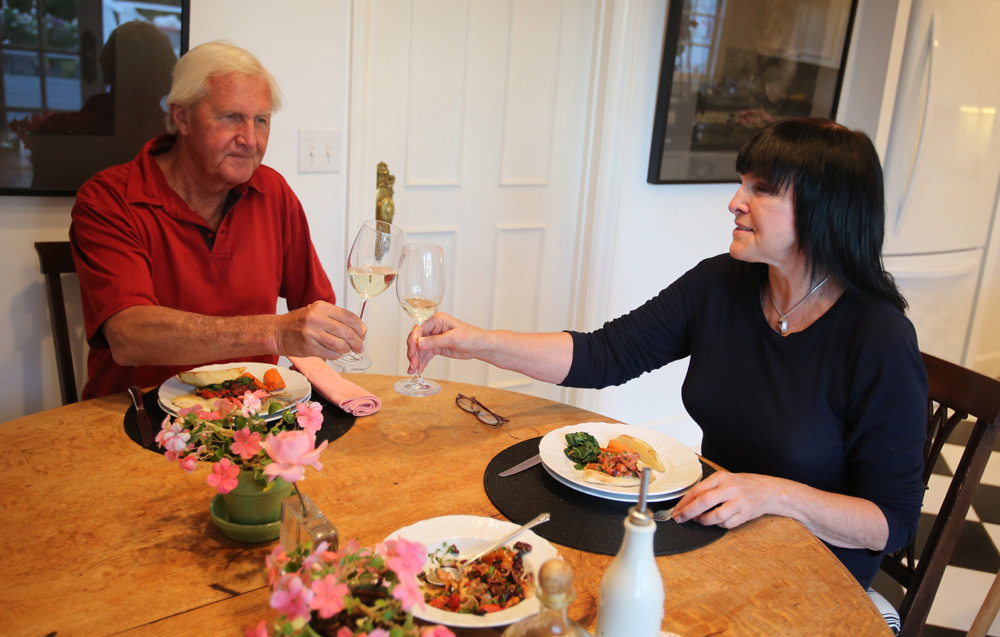 Challenging themselves to live on a 'food stamp budget', Ramona Crinella, right, and Skip Swensen limited their food allowance to $50 for one week. (Crista Jeremiason/PD)